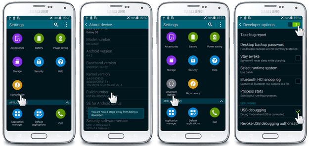 how to usb sync android powered samsung galaxy s5 with microsoft