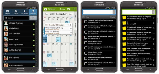 Android-Sync Task and Note apps on Samsung Galaxy Note3