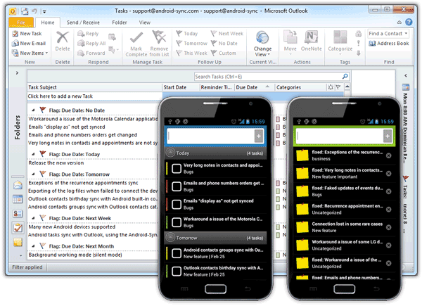 Android Tasks and Notes Sync with Outlook
