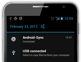 Android-Sync notification icon shows that, the connection from Android