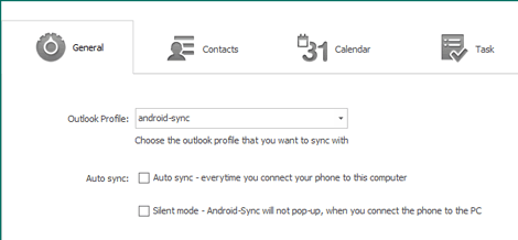 Outlook sync preferences